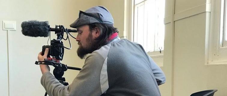 "Daniel Rutter DoP on the set of the short film ""Zit"""