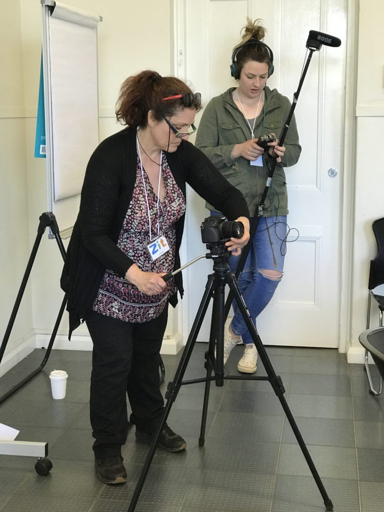 "Milena Sallustio, left, on camera and Dayna Behsman, right, on sound on the set of the short film ""Zit"" filmed on location at Western Plains Cultural Centre, Dubbo"