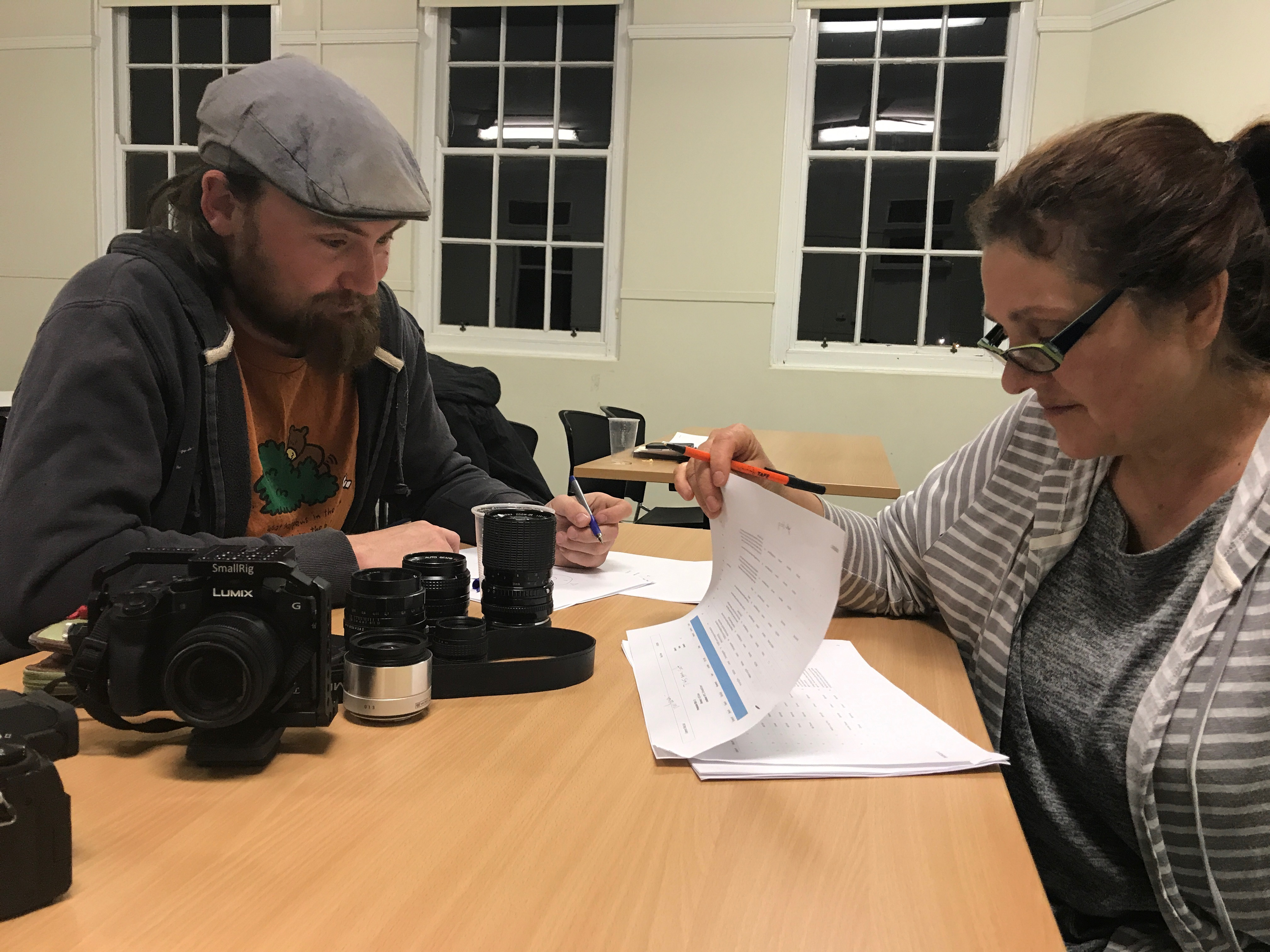 """Daniel Rutter, Director of Photography, and Milena Sallustio, Camera Operator, discuss camera options for """"Zit"""""""